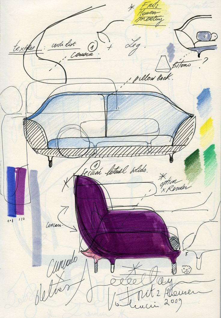 Sketch by Jaime Hayon of the Favn™ sofa