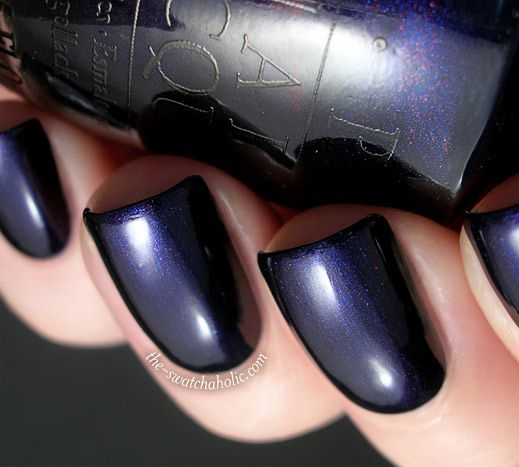 OPI Russian Navy from the Russian Collection for Fall 2007 -- 'Russian Navy's shimmer actually is navy blue and red' -- ( 'Coats used  OPI – Russian Navy: two  Base coat and top coat  Base coat: OPI – Nail Envy Matte  Top Coat: Essence – Better Than Gel Nails Top Sealer') #darkblue #navyblue #nailsphotography #bluenails #opi