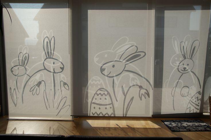 Osterhasen Fenstermalerei Ostern Hase - easter bunny window decoration