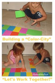 young children design with color, foam cards, twins