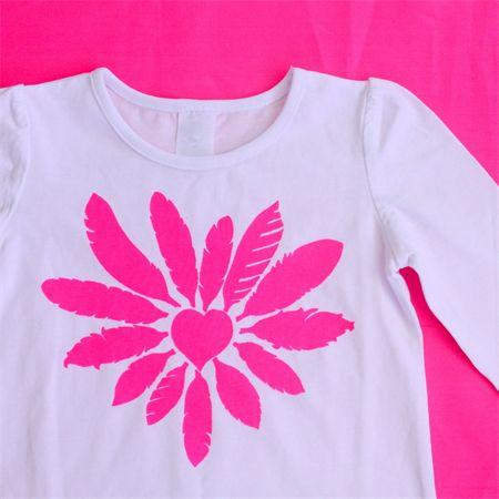 Sizes 1-7 - Girls Neon Feather Heart Long Sleeve Tee