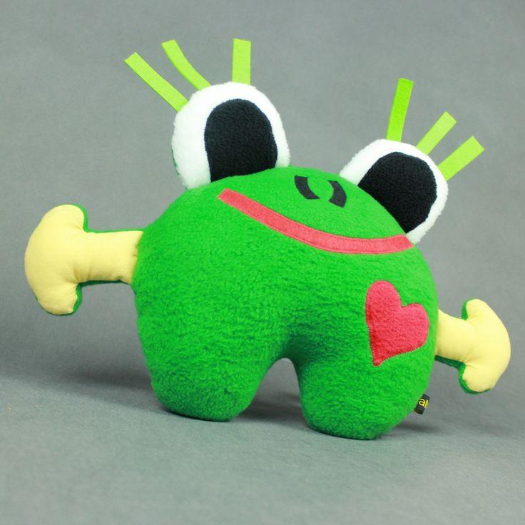 Żaba - przytulanka, mini poduszka-rękodzieło / Frog - hand made toy, minipillow