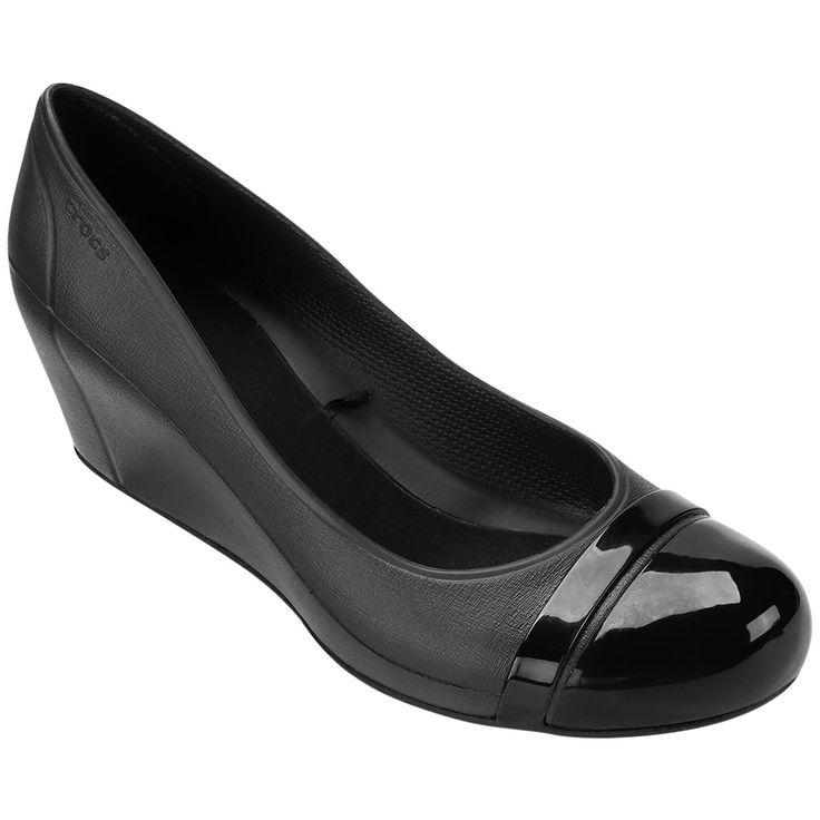 Sapatilha Crocs Cap Toe Wedge Preto | Netshoes