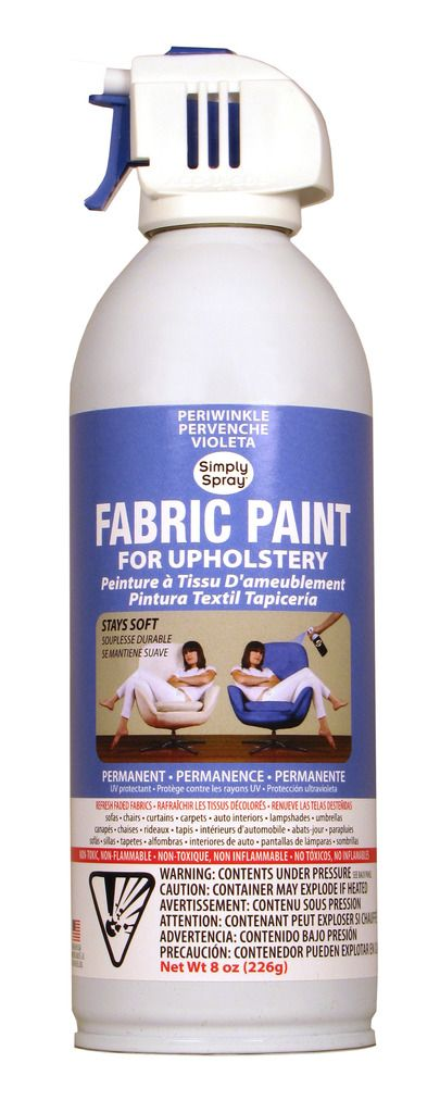 Periwinkle Upholstery Fabric Paint- all fine and good but must you spray it at someone while they are sitting on the chair you wish to paint? Not cool.