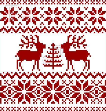 Illustration of Collection of christmas norwegian pattern, isolated on white background.