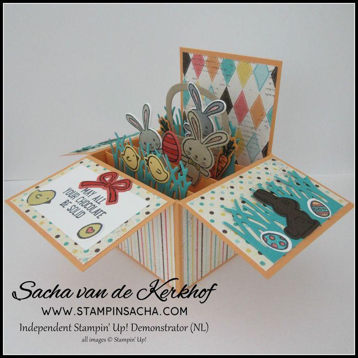 zijkanten van het doosje versierd met chocolade paashaas