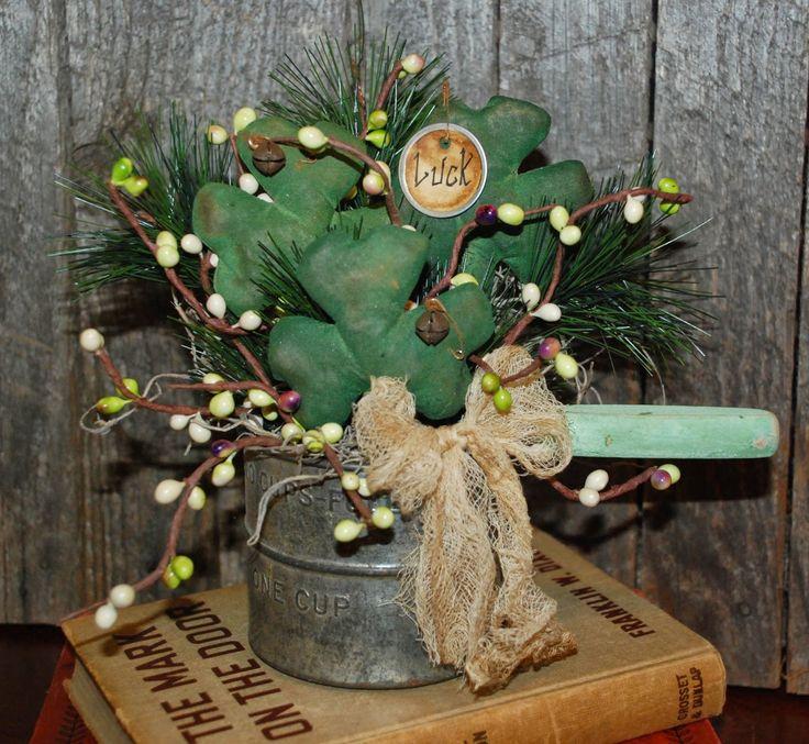 Lucky Shamrocks - primitive St. Patrick's Day table arrangement by Olde Annie Primitives