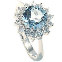 Nuvola - Klassisk diamantring med blå topas - Nuvola Diamantring