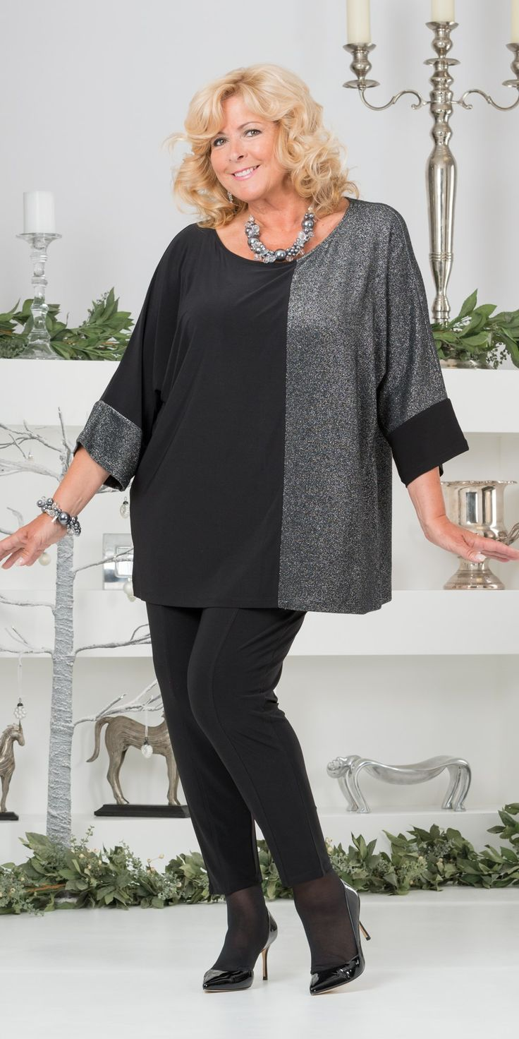 """Kasbah silver/black silky jersey/lurex oversize top and trouser: Round neck oversize top with 3/4 sleeves, centre back 28"""" approx, 51.63 polyester 21.18 viscose 11.27 polyamide 10.82 metal 5.10 elastine. £70. Narrow trouser with fully elasticated waist, inside leg 30"""" approx, 94% polyester 6% elastine, washable. £50.   Box2"""