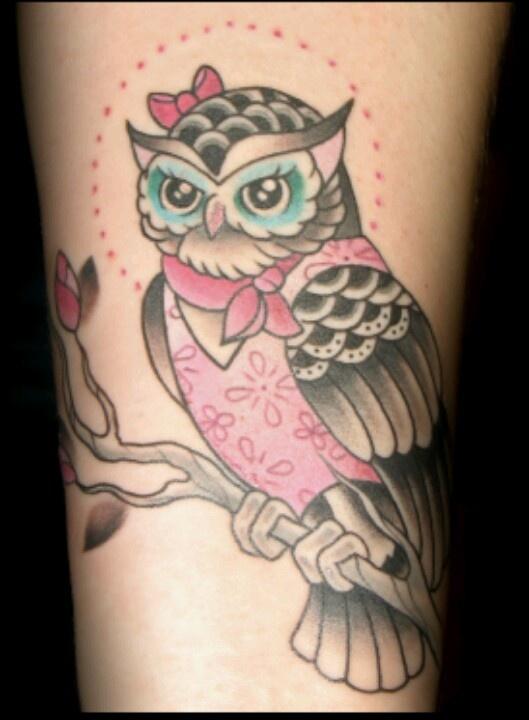 cute girlie owl tattoo tattoos pinterest. Black Bedroom Furniture Sets. Home Design Ideas