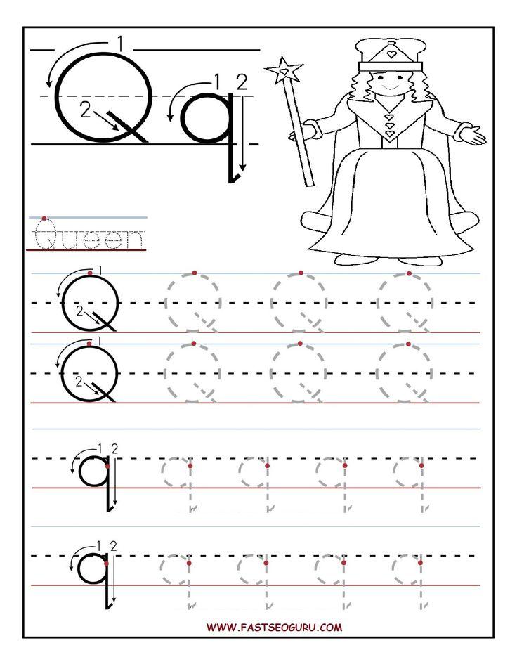 printable letter q tracing worksheets for preschool word work pinterest tracing worksheets. Black Bedroom Furniture Sets. Home Design Ideas