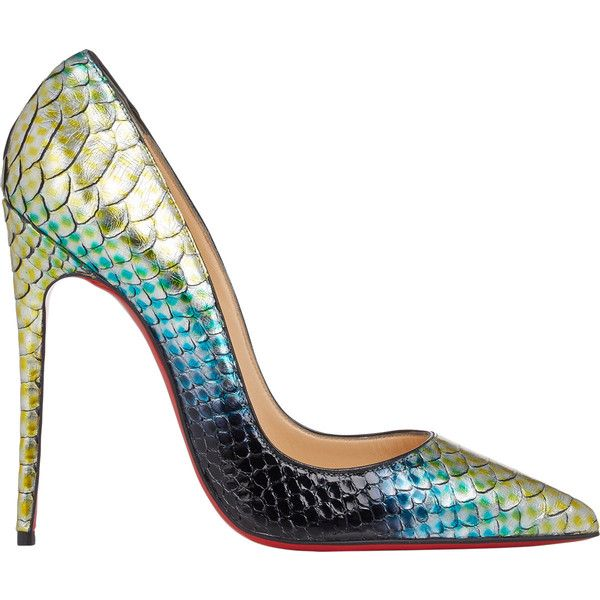 christian louboutin peep-toe wedges Grey and multicolor python ...