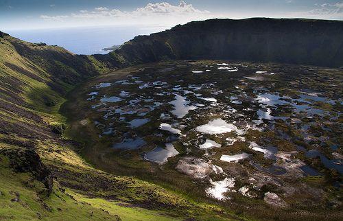 Volcán Rano Kau, Rapa Nui, Isla de Pascua,Chile