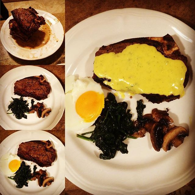 NY Strip Steak With Dill Bearnaise Sauce, Buttered Spinach, Mushrooms And A  Poached Egg. Bearnaise RecipesBearnaise ...