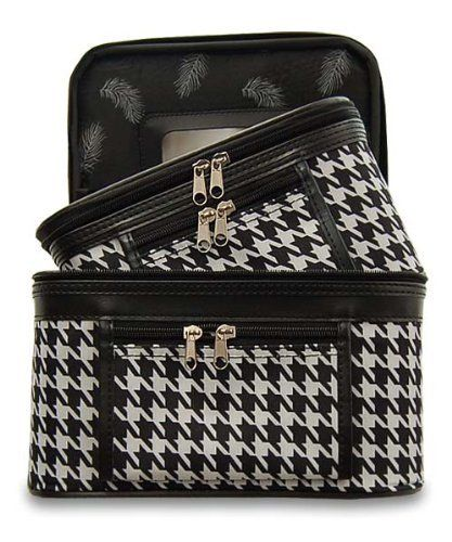 Train Case Cosmetic Toiletry 2 Piece Luggage Set Black Trim Black White Houndstooth Print by Private Label. $26.25. Color: Black White. Size : Large (11 x 9 x 7 in.) Small (9.5 x 7.5 x 5.5 in.). Adjustable Shoulder Straps Included. Material : Canvas. Mirrors inside each train case. Complete with detachable and adjustable shoulder straps, interior mirrors, and outside zipper pockets for added convenience, this two piece train case is sure to please! Each solid, st...