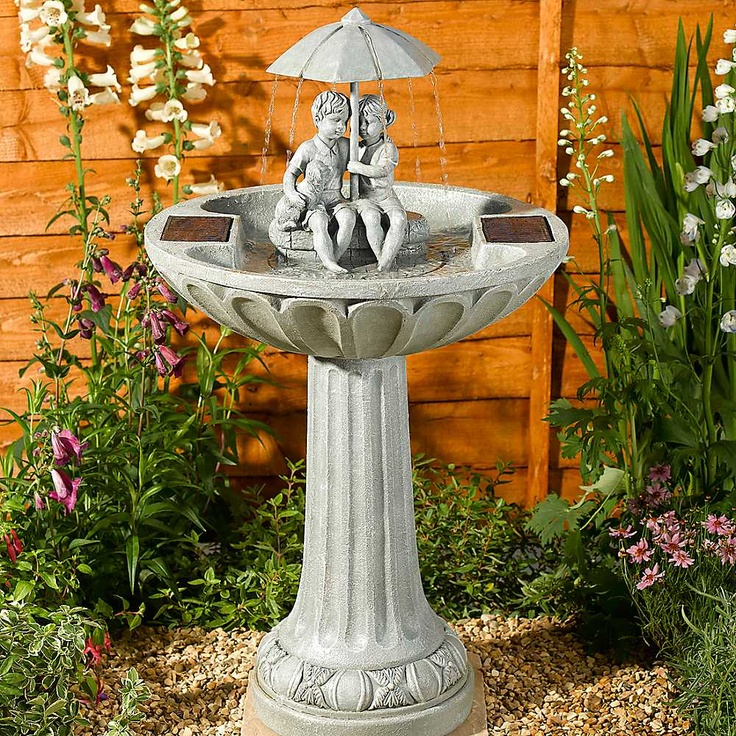 outdoor fountain with umbrella Solar Powered