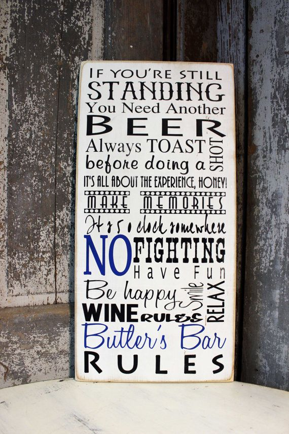 Personalized Bar Rules Sign, Man Cave Rules, Custom Pub Sign, Custom Bar Sign, Family Name Bar Sign