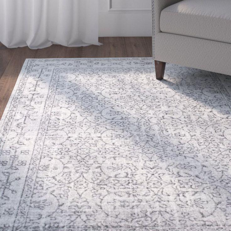 Utterback Gray Cotton White Area Rug Living Room Rugs