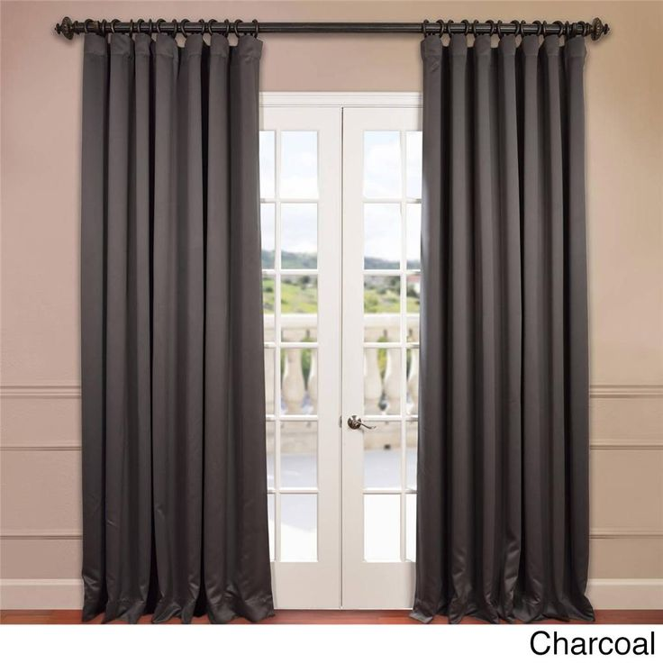 EFF Extra Wide Thermal Blackout 96-inch Curtain Panel (Charcoal), Grey, Size 100 x 96 (Polyester, Solid)