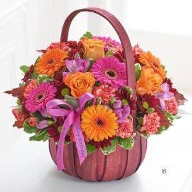 Happy Birthday Autumn Basket with Happy Birthday Balloon *