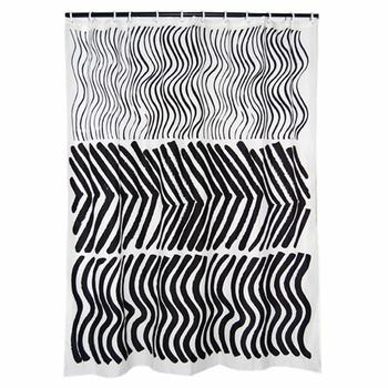 Marimekko Silkkikuikka Black White Long Polyester Shower Curtain