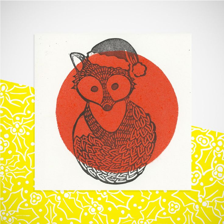 Foxy Christmas Card. Hand Printed & embossed Greetings Card. by YellowHolly on Etsy