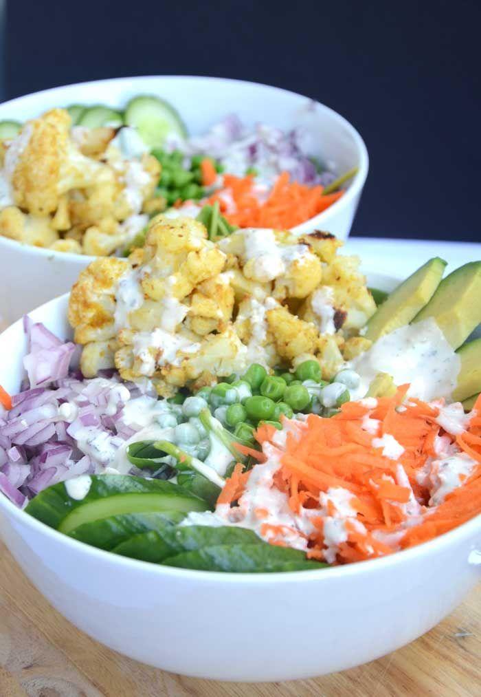 Salad Recipe: Baked Cauliflower Salad Bowl w/ Tahini Ranch Dressing #recipe #vegan #glutenfree #salad