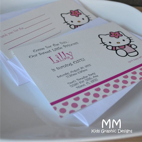 Hello Kitty Theme  Set of 20 Invitation and 20 Thank You by MMKids, $50.00