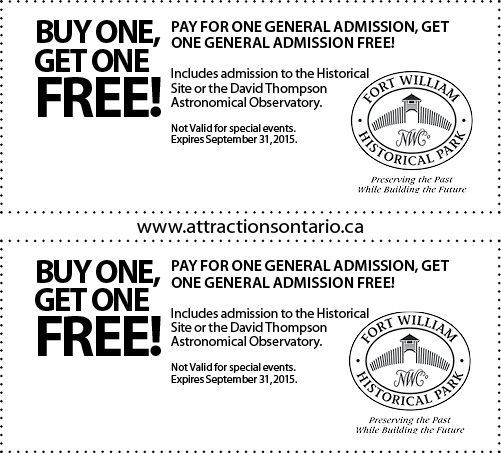 Fort William Historical Park - 2015 Summer Coupon