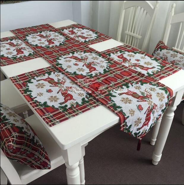 Christmas Dec Love bear Coffee Table Runner Dinner mat Place mat Jacquard home Ornament wholesale  FG135