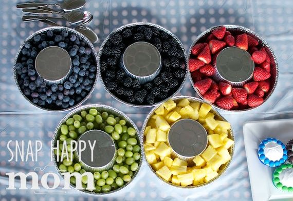Olympics Birthday Party from SnapHappyMom.com - Olympic Rings Rings Fruit Platter (9″ aluminum cake tins and small 5″ aluminum bake pans)