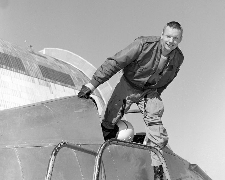 Neil Armstrong in NASA Ames' Bell X-14 Aircraft Neil A. Armstrong is photographed in the cockpit of the Ames Bell X-14 aircraft at NASA's Ames Research Center. Armstrong the first man to walk on the moon was born in Wapakoneta Ohio on August 5 1930.