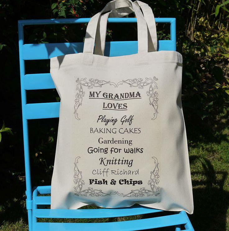 personalised 'grandma' loves shopping bag by andrea fay's   notonthehighstreet.com