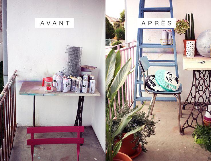 balcon avant / après green et scandinave
