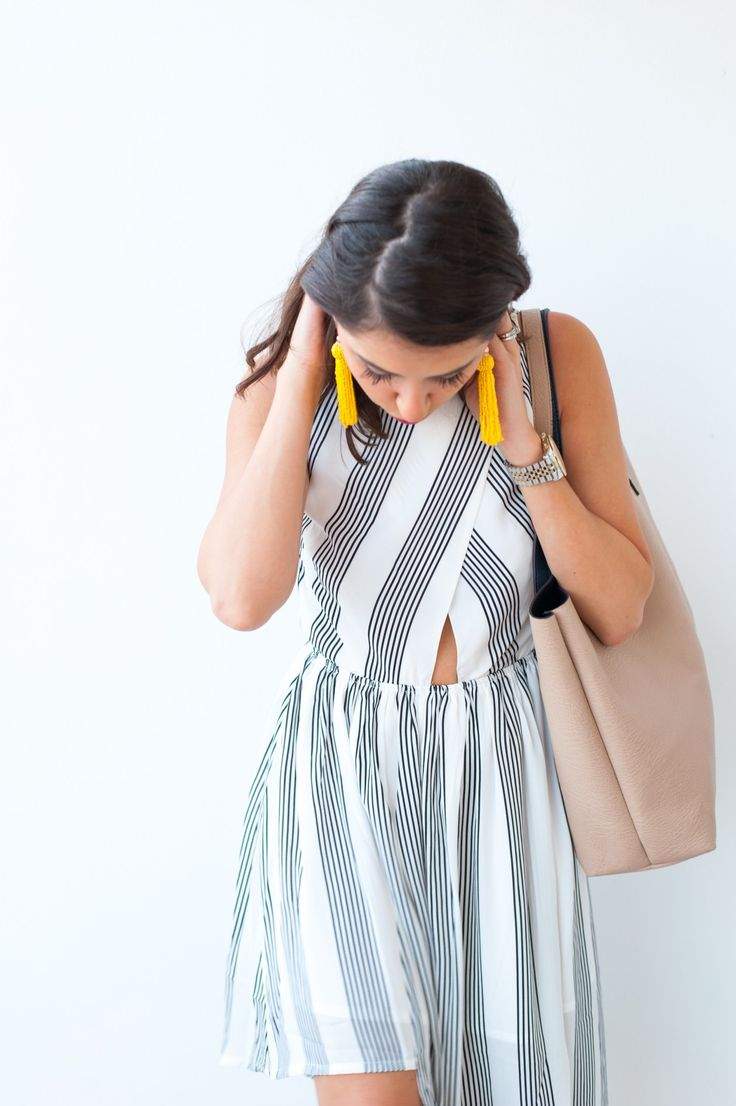 Dress Up Buttercup // A Houston-based fashion and inspiration blog developed to daily inspire your own personal style by Dede Raad   Elliatt 'Linear' Stripe Crepe Midi Dress