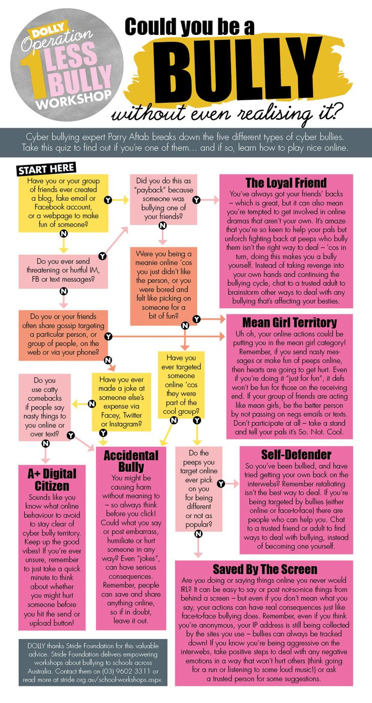 "Could YOU be the bully? Think about it. Read through this flow chart and be honest with yourself. Even if you may not ""bully"" in the exact same way as mentioned, could YOU be the bully?? Be honest."