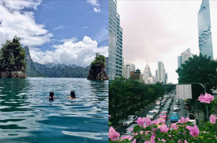 Comparison between a Thai national park and built up Bangkok