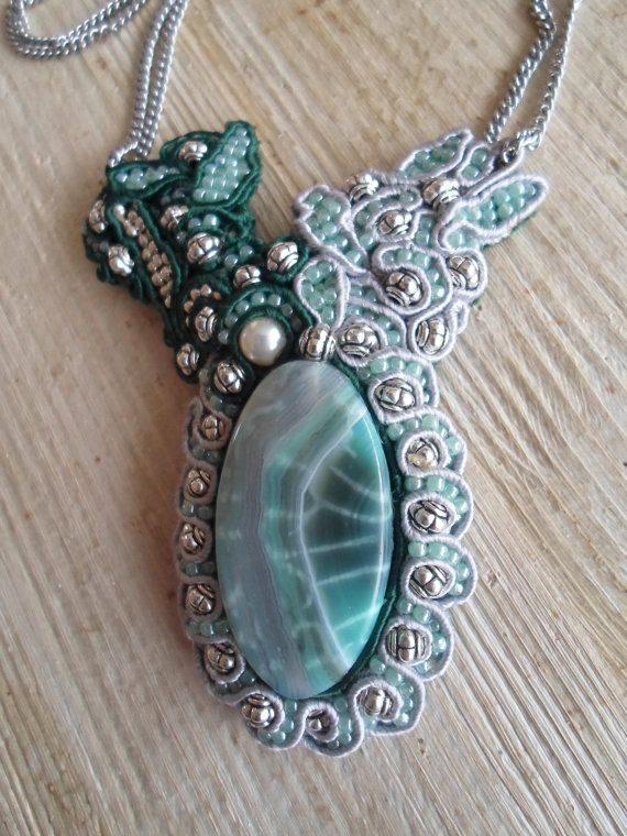 Eye of the Sea. Handmade soutache necklace. Vegan friendly.