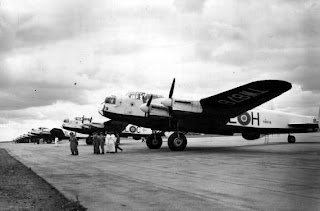 During July and August 1946, 35 Sqn RAF carried out a goodwill tour of the USA with 16 Lancaster Bombers. The Squadron left the UK in 2 waves in July and routed via the Azores to Gander. After Mitchell Field (New York) ,the Lancasters visited Scott Field,Lowry(Denver) and Long Beach(California) ,taking part in U.S.A.A.F celebrations in Los Angeles on August1st 1946. On the way home, they visited San Antonio,Morrison Field (Florida) and Andrew Field (Maryland).