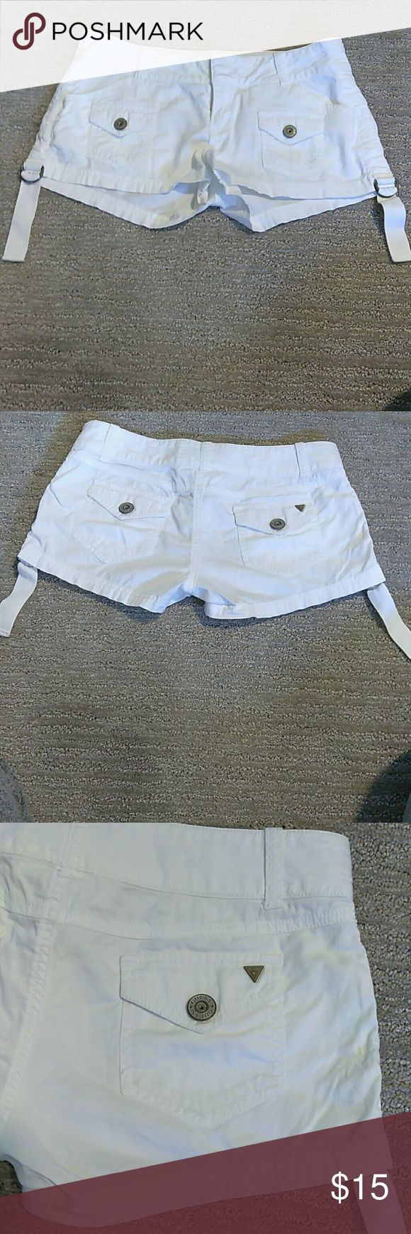 Guess White Stretch  Shorts Guess White Stretch Shorts, size 26, no stains! Excellent condition! Guess Shorts