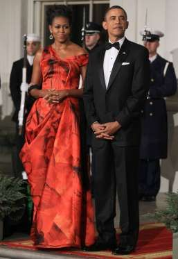 Wearing Alexander McQueen at a state dinner with Chinese President Hu Jintao in 2011. - Getty