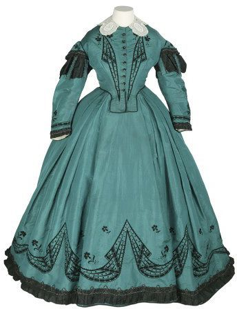 Dress, France, ca. 1865, Hand embroidered silk, taffeta, lace, steel beads and steel bead braid, Victoria & Albert Museum, T.433&A-1976