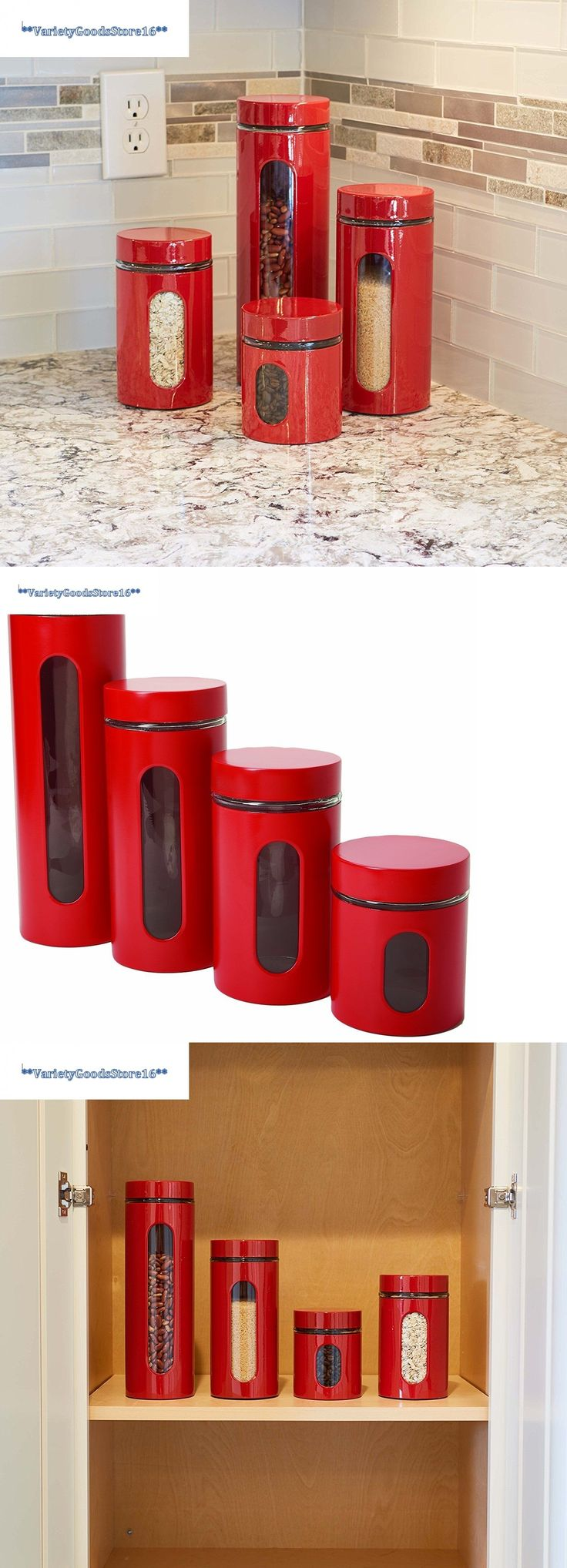 Canisters and Jars 20654: Red Canister Set 4 Pc Kitchen Flour Sugar Coffee Tea Window Containers Gift New -> BUY IT NOW ONLY: $36.28 on eBay!