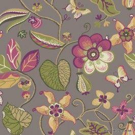 Papel de parede Decoração Floral Origini 200-20 , Wallpaper, Importado, Lavável, Superfície lisa, Tons de Vinho, Verde e fundo bege escuro
