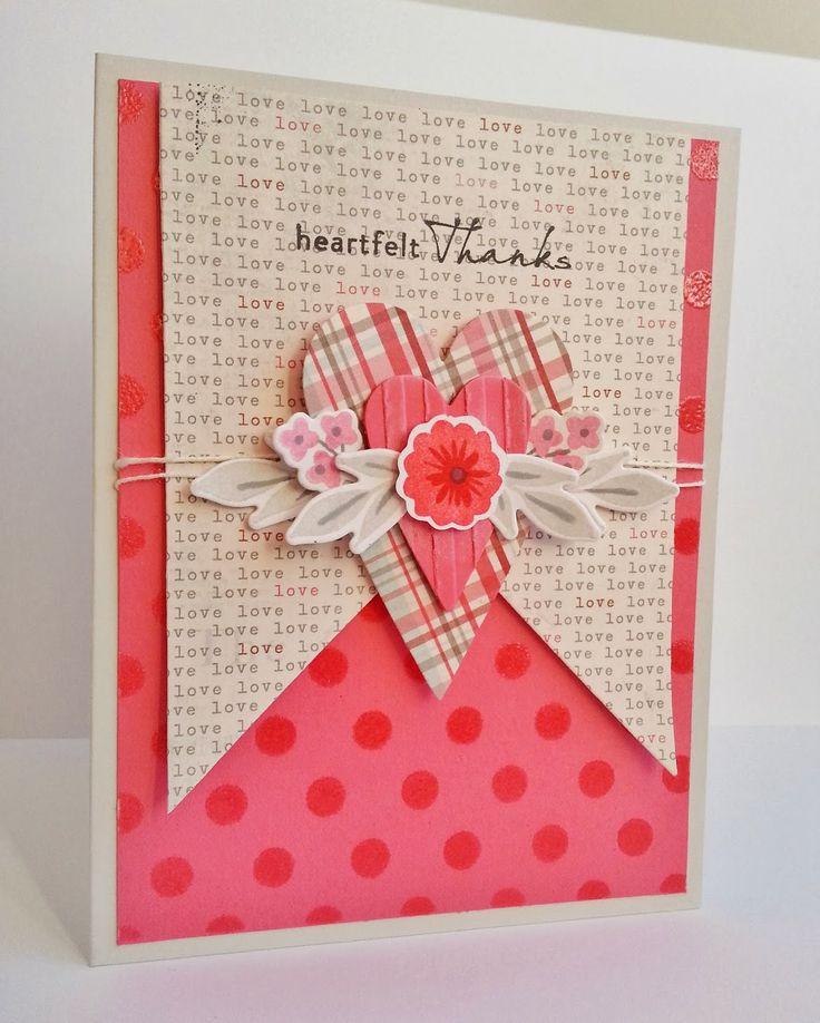 wedding thank you cards time limit%0A card with heart hearts Gingham Girl  Stencils a Sketch