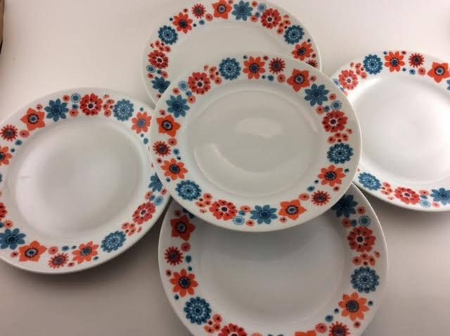 Fisher China Made in East Germany Luncheon or Side Plates Set of 5 Floral Orange Blue Flowers Sunny Tea Party by BitchinKitschKitchen on Etsy