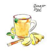 Акварель имбирный чай — стоковое фото #80020982