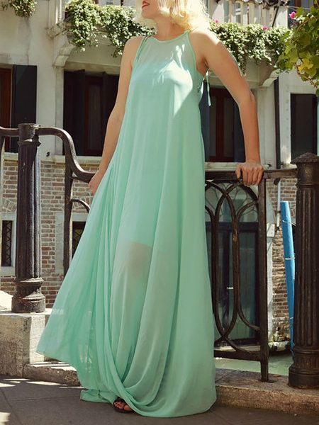 Shop Maxi Dresses - Light Green Swing Polyester Statement Maxi Dress online. Discover unique designers fashion at StyleWe.com.