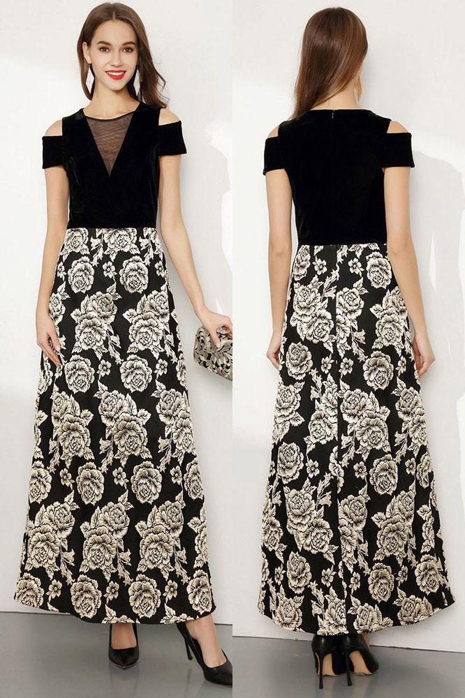 1badb8350b Embroidery Floral Black Long Formal Dress With Cold Shoulder -  80 ...
