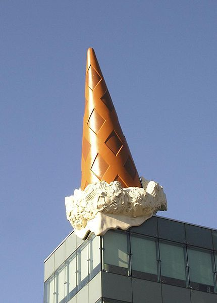 Dropped Cone by Claes Oldenburg and Coosje van Bruggen located at Neumarkt Galerie, Cologne, Germany